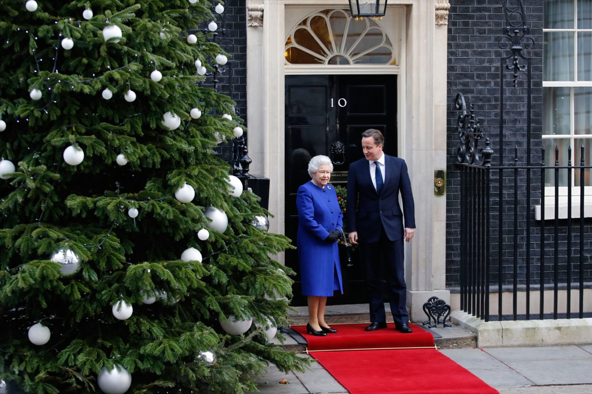 Queen Elizabeth II at No. 10 Downing Street with then Prime Minister David Cameron