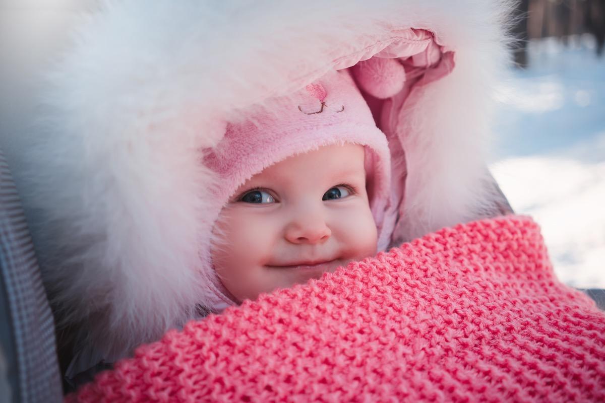bundled up baby in stroller