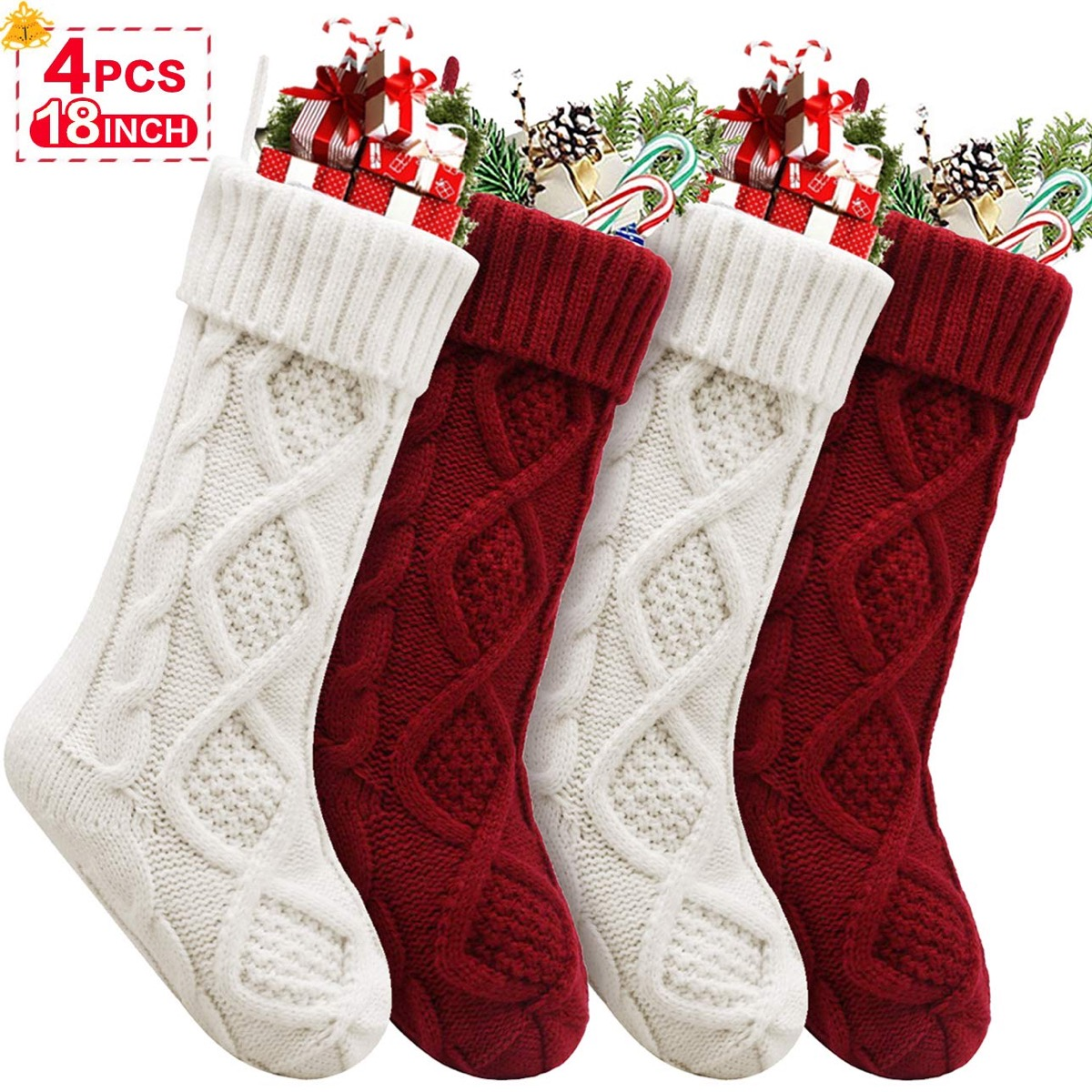 red and white cable knit stockings