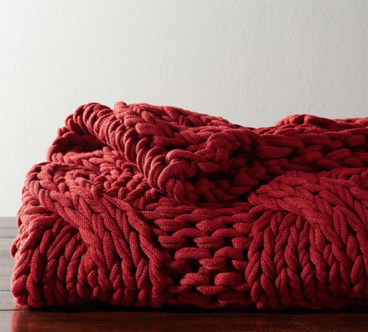 burgundy cable knit throw