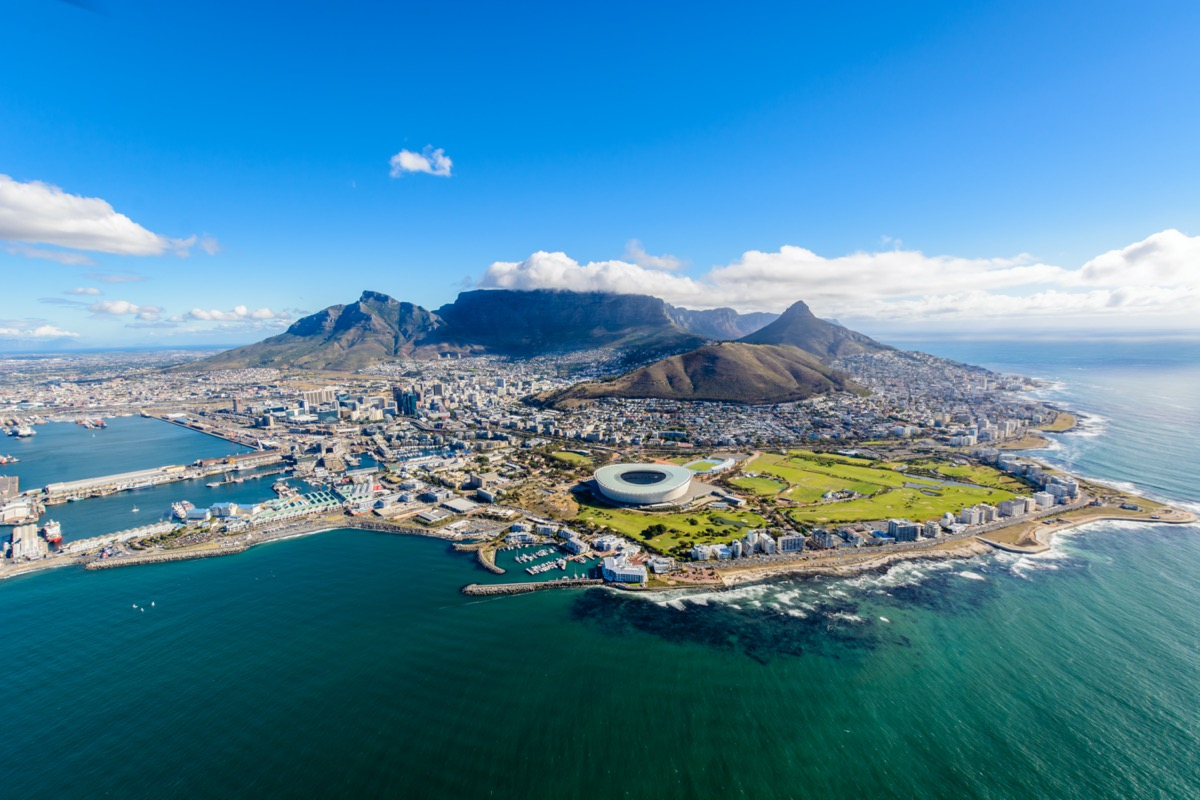 aerial view of cape town coast and mountain
