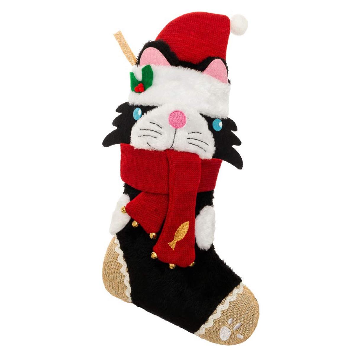 black and white cat christmas stocking