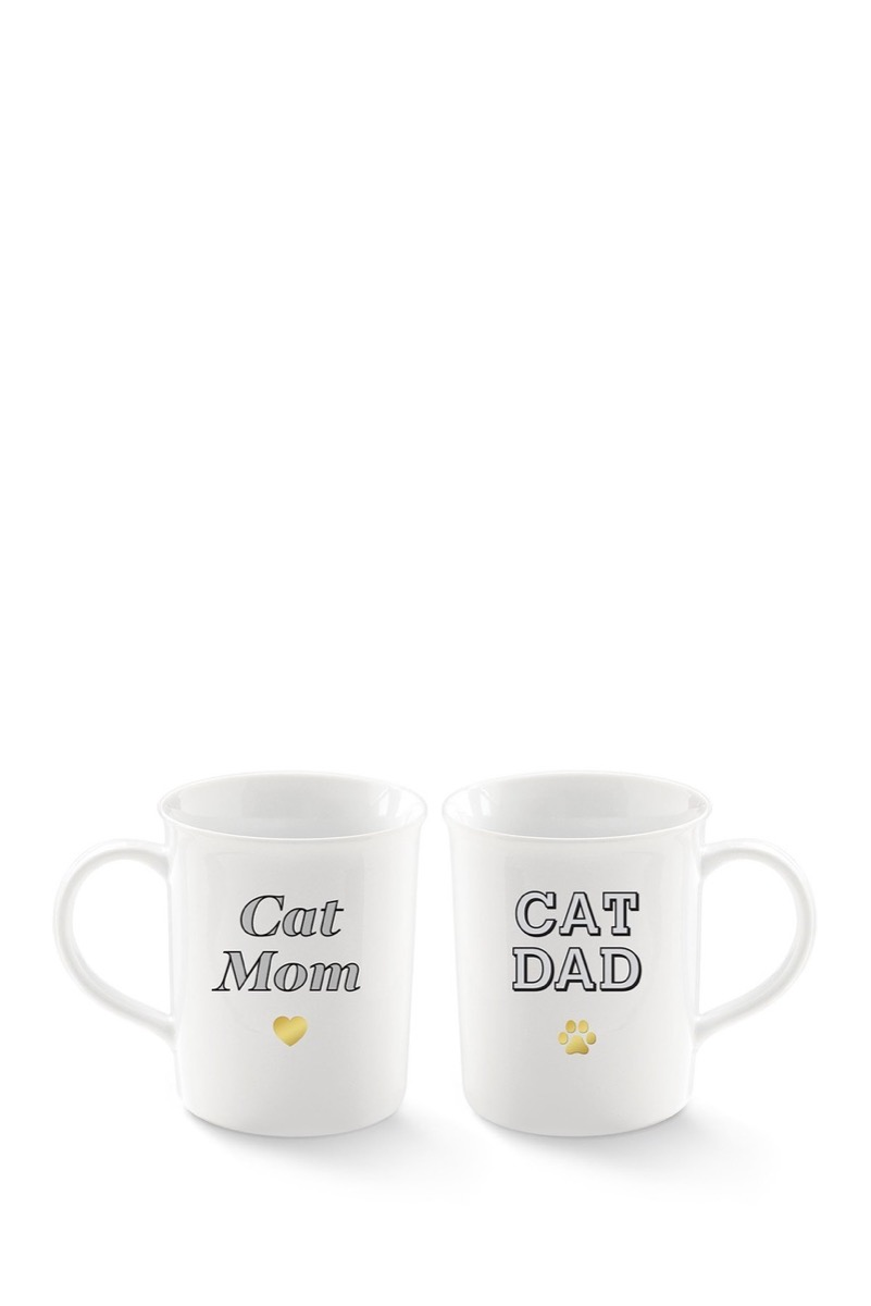 """white ceramic mugs with """"cat mom"""" and """"cat dad"""" on them"""