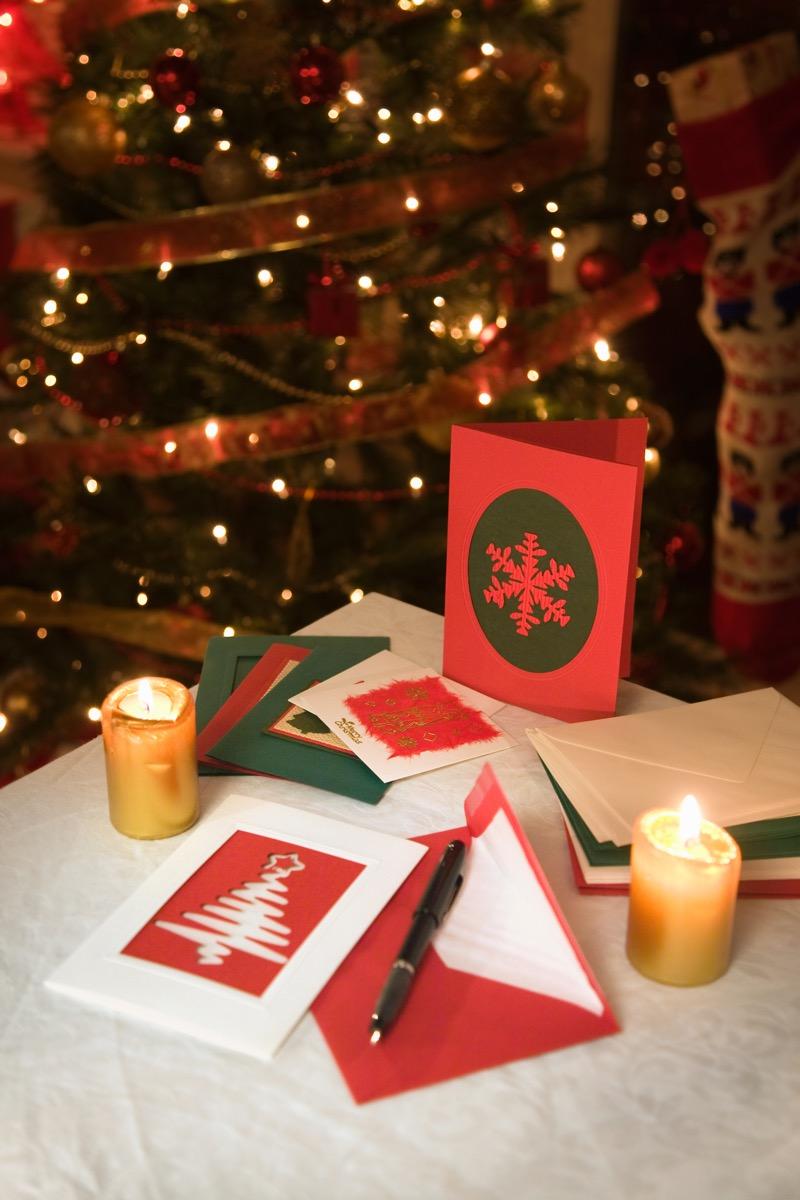 christmas cards on table