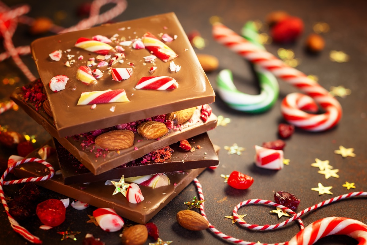 christmas chocolate bark with peppermint berries and nuts