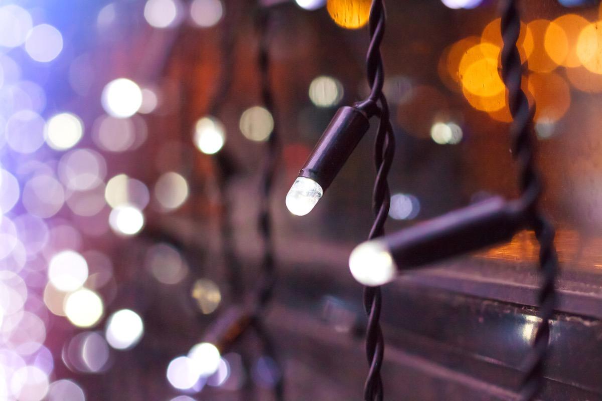 christmas lights outside on window sill