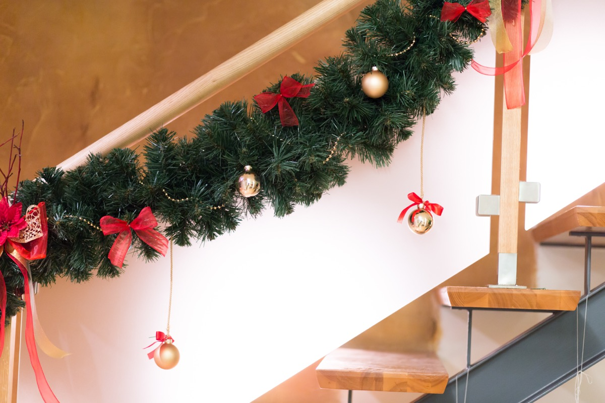 Stairs decorated with Christmas decorations