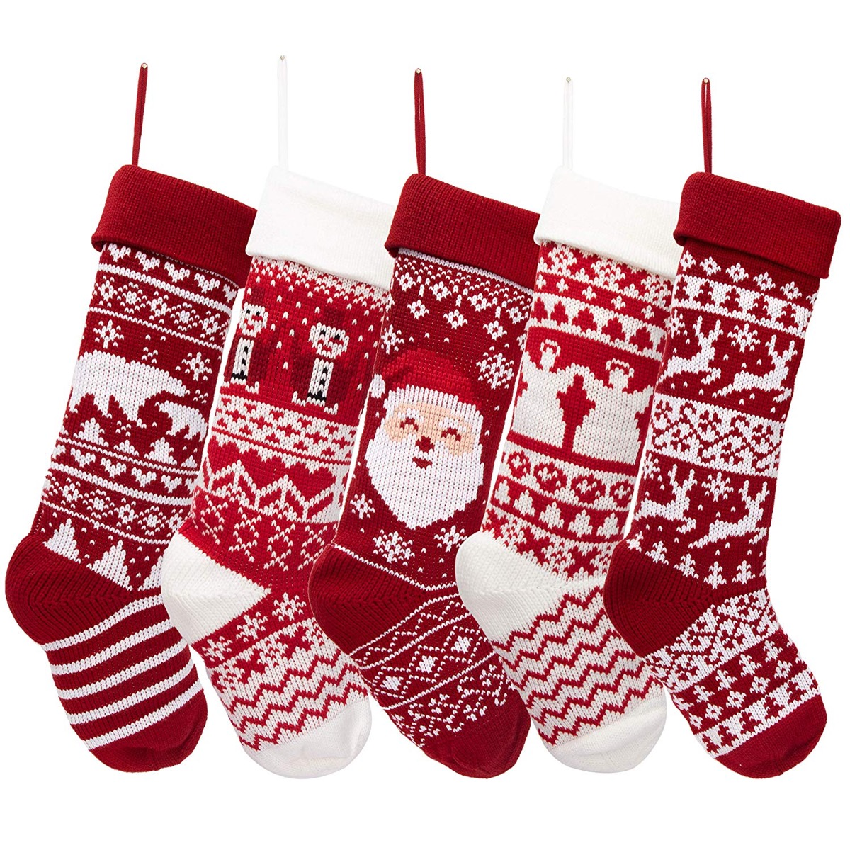 red and white knit christmas stockings