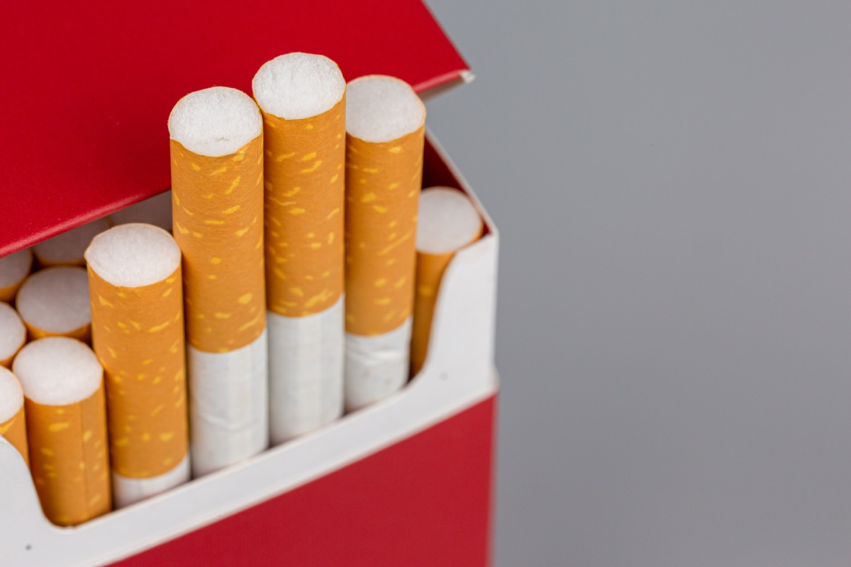 close-up of cigarette pack