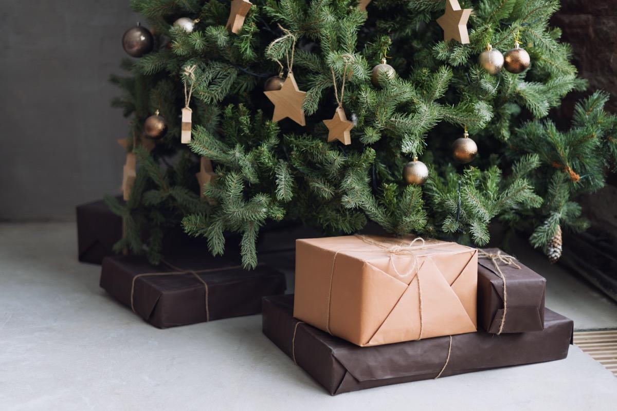 closeup of the bottom of a christmas tree