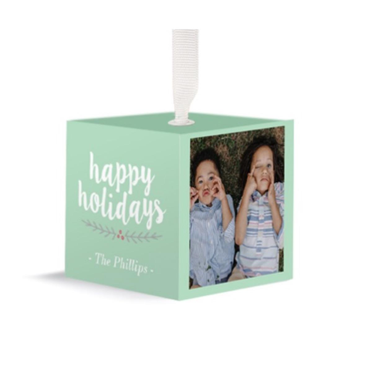 green photo cube ornament