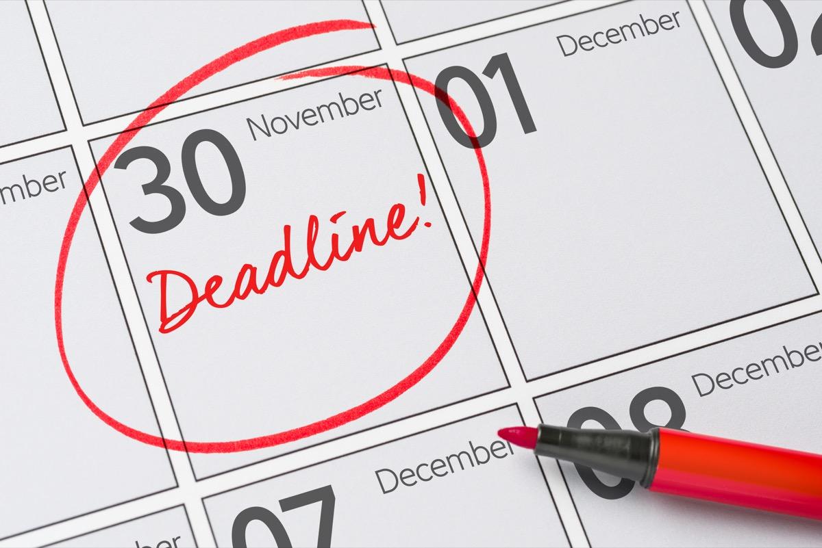 deadline circled on calendar