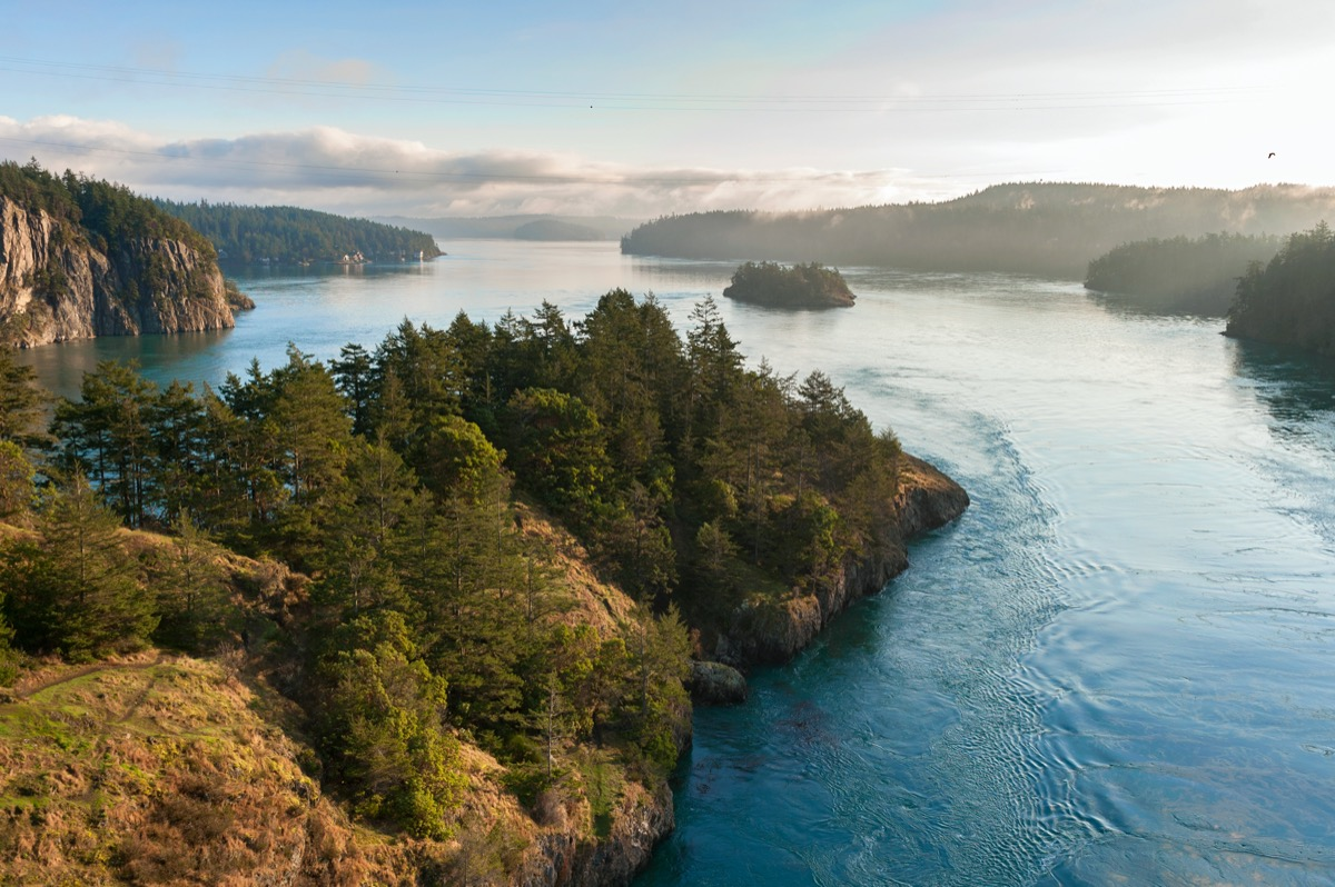 a strait of water surrounds islands with forests