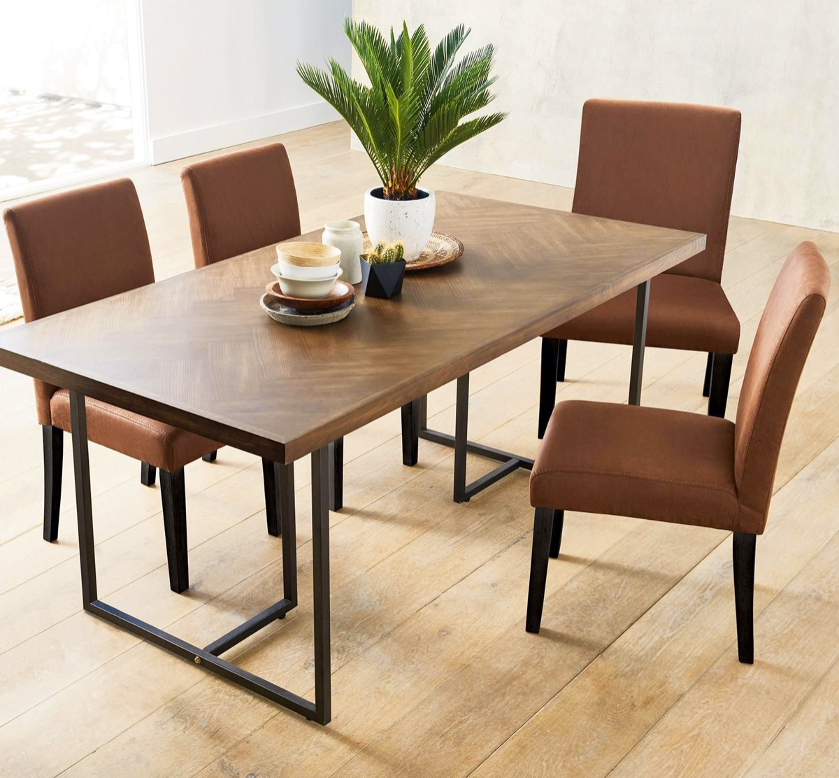 Brown wood dining room table