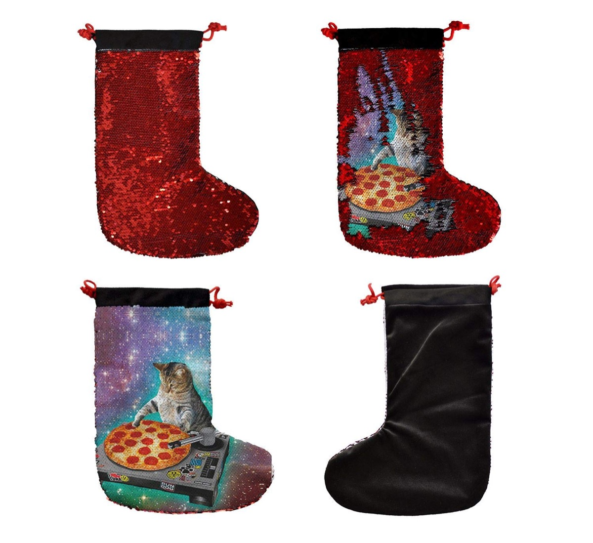 four stockings with pizza cat on them