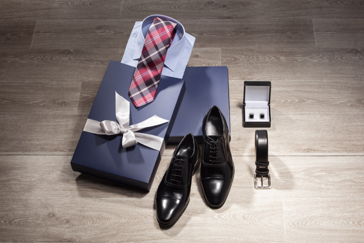 dress shirt tie belt and shoes with gift package