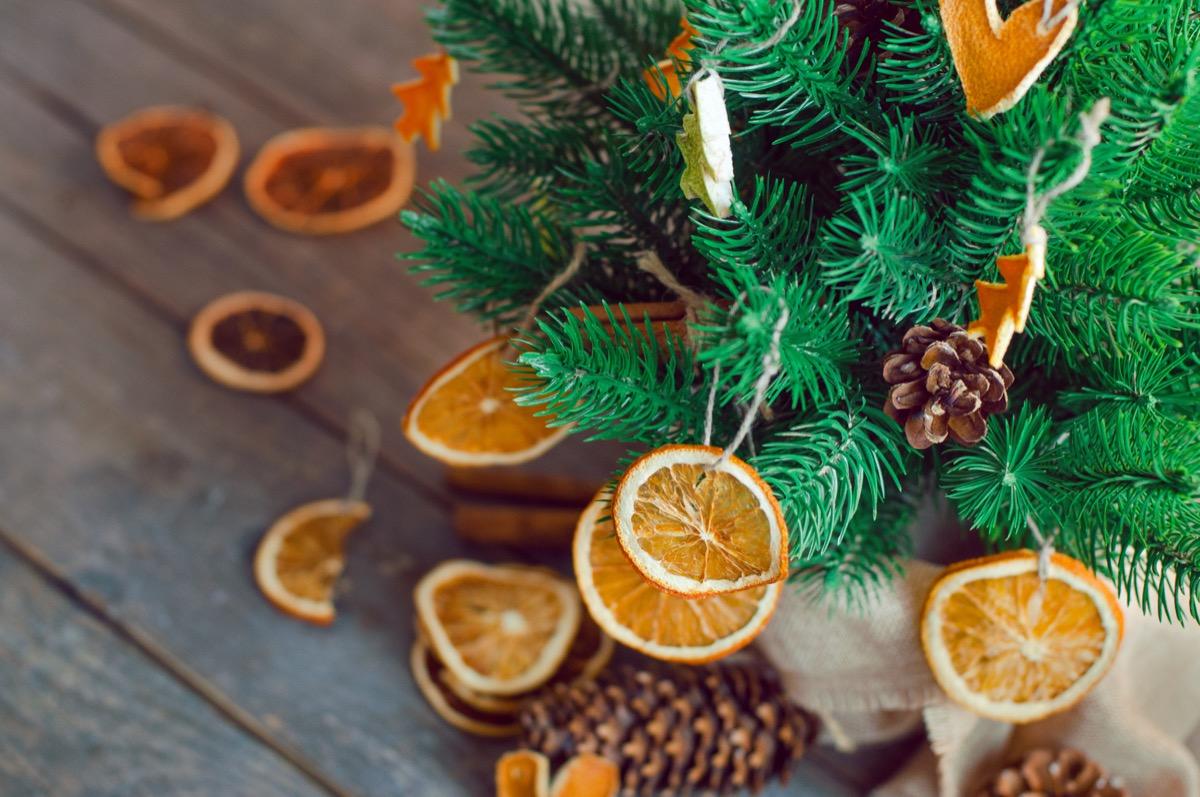 dried orange slices on christmas tree