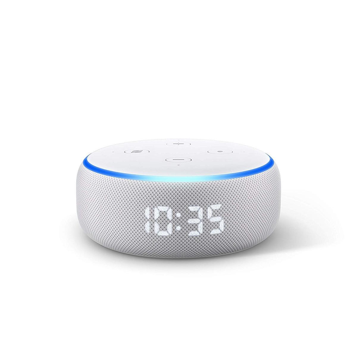 echo dot smart speaker with clock and alexa