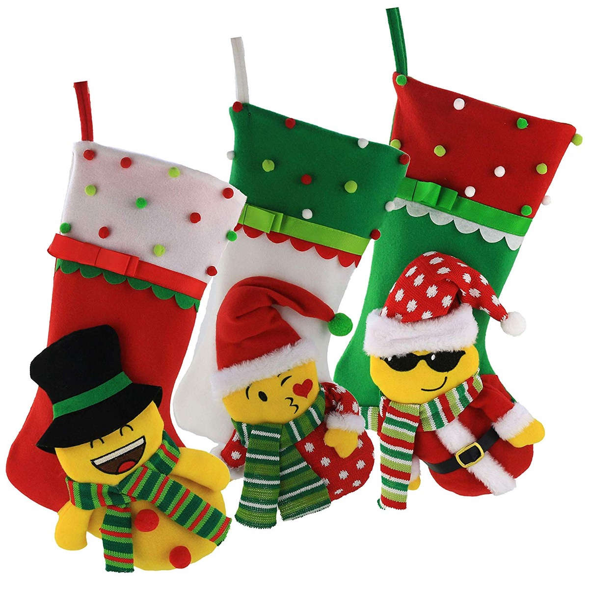 green and red emoji stockings