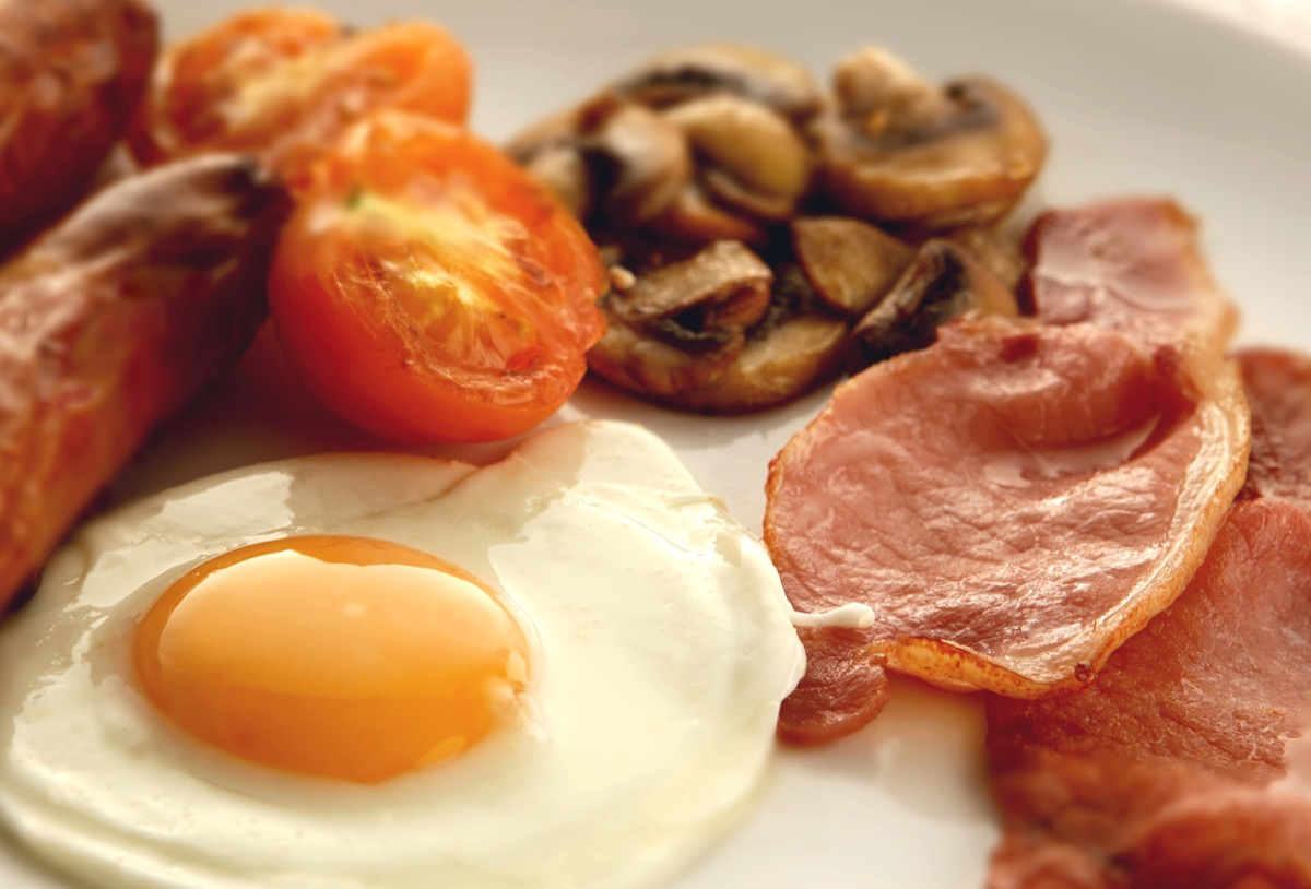 Close up of an English breakfast