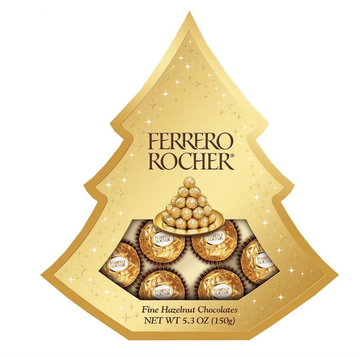 gold tree-shaped box of ferrero rocher chocolates