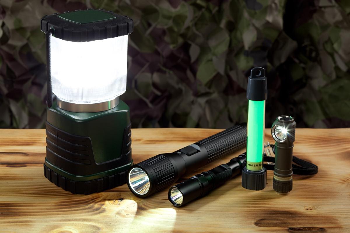 Group of flashlights and lantern.
