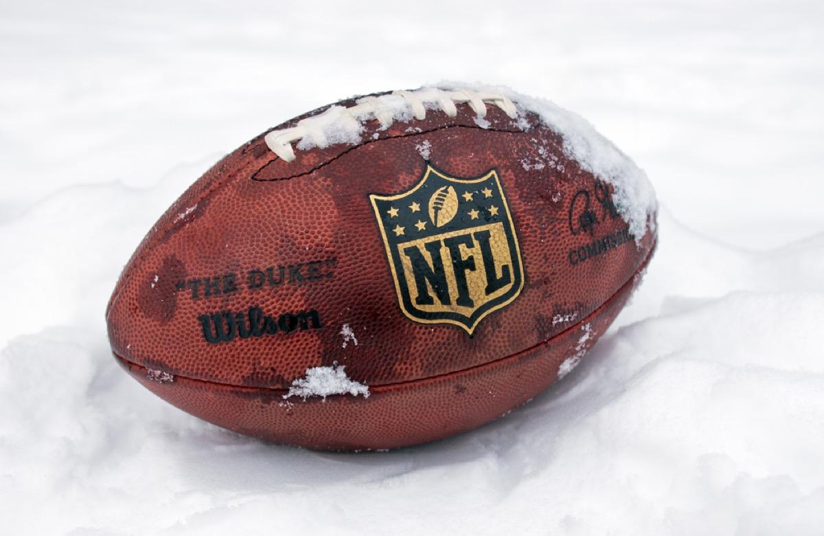 football closeup in snow