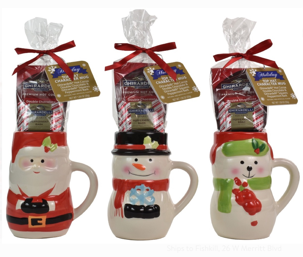 three ceramic holiday mugs with ghirardelli hot cocoa