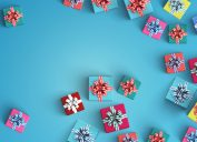 gifts on blue backgrounds