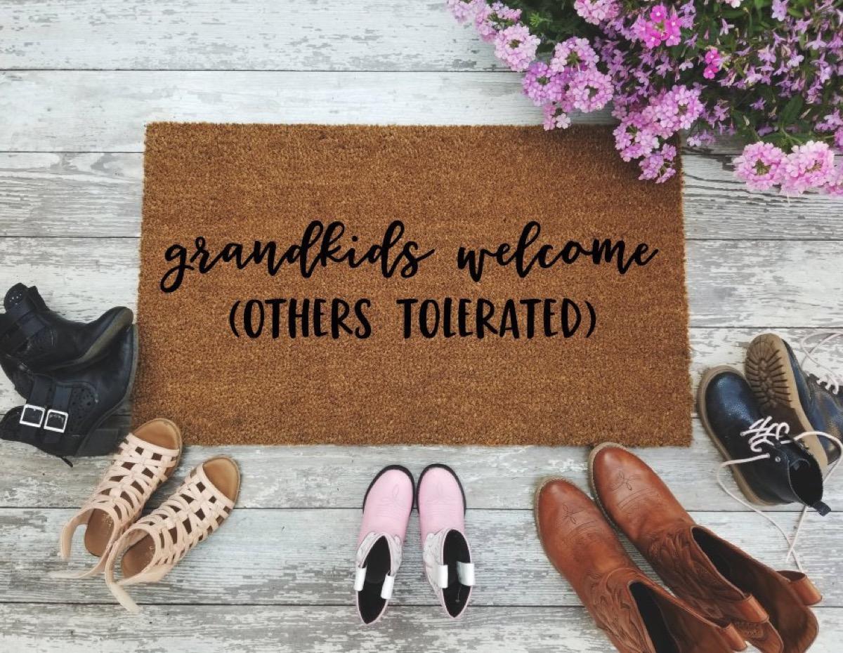 grandkids welcome others tolerated brown doormat