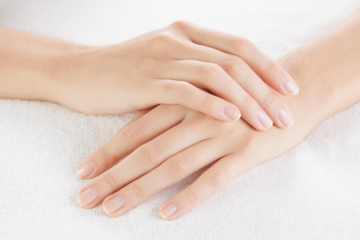 woman growing fingernails