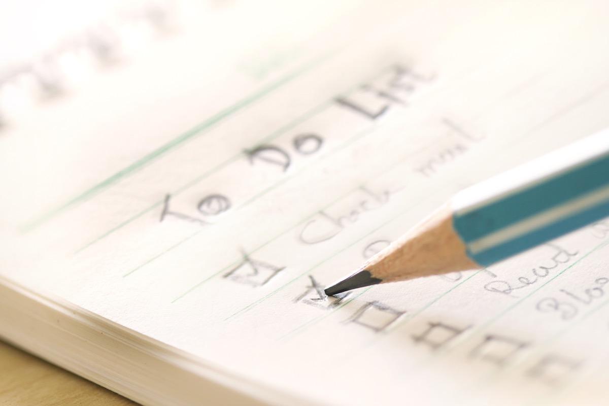 hand written to do list