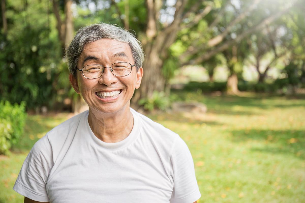 happy older man outside
