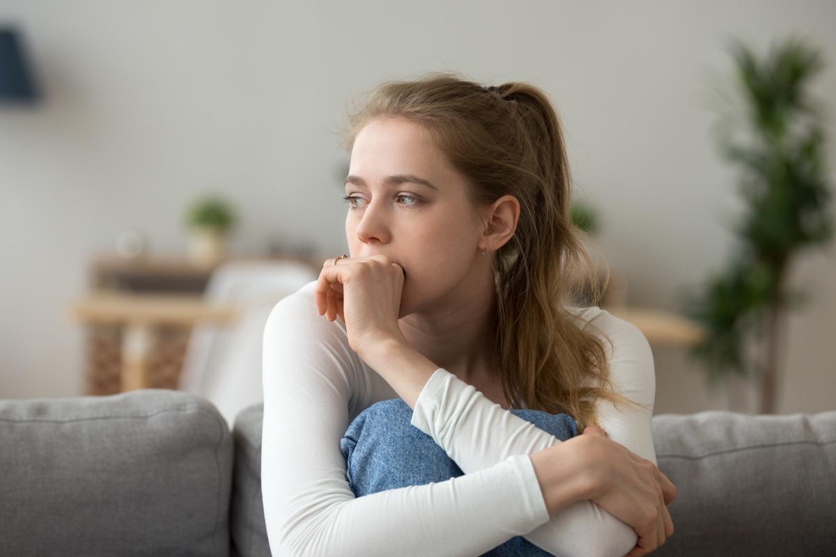 headshot of anxious woman