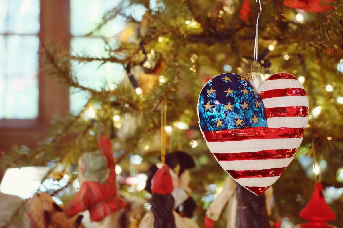 heart shaped us flag ornament