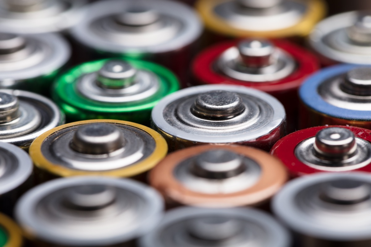 high angle view of different batteries