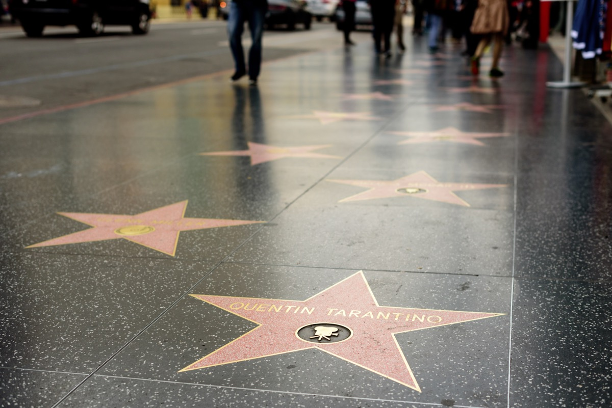 Stars on the Hollywood Walk of Fame including Quentin Tarantino
