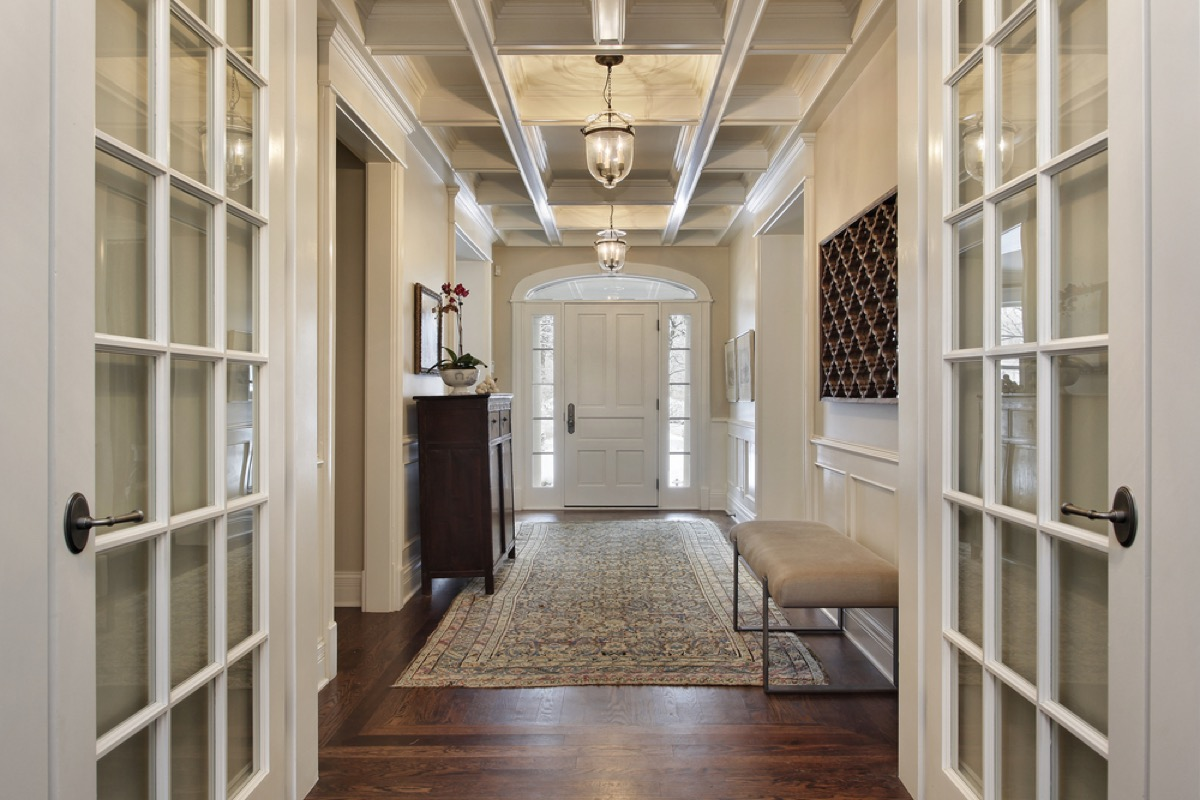 foyer with french doors and entry bench