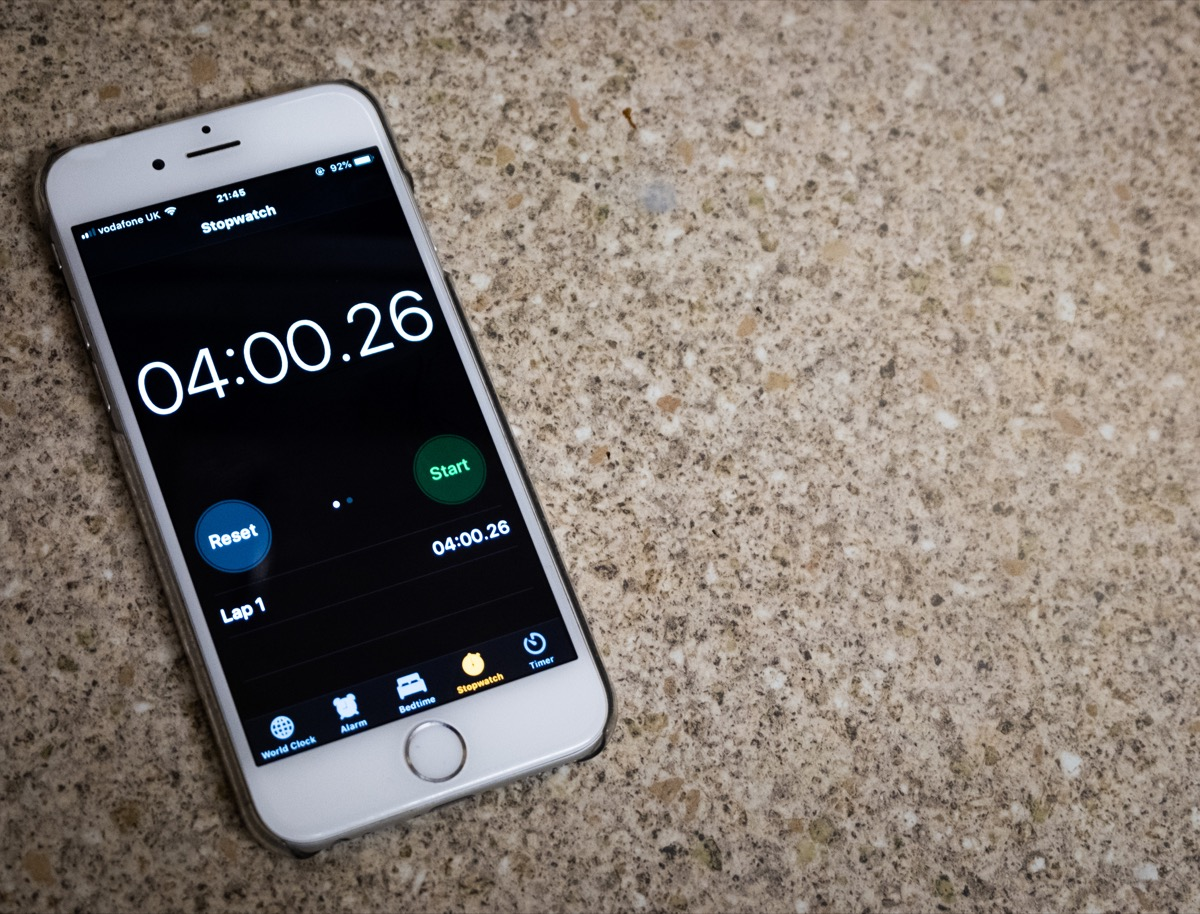 Timer function on iPhone