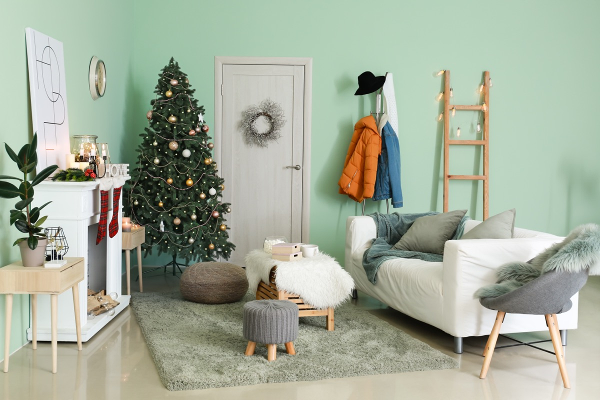 interior of a room with a christmas tree
