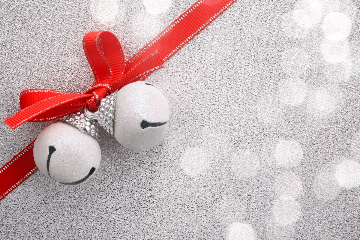 jingle bells with red ribbon