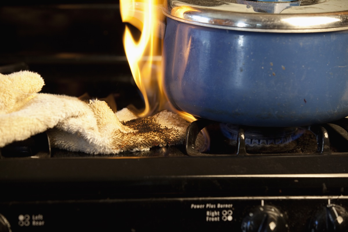 kitchen fire on the stove top