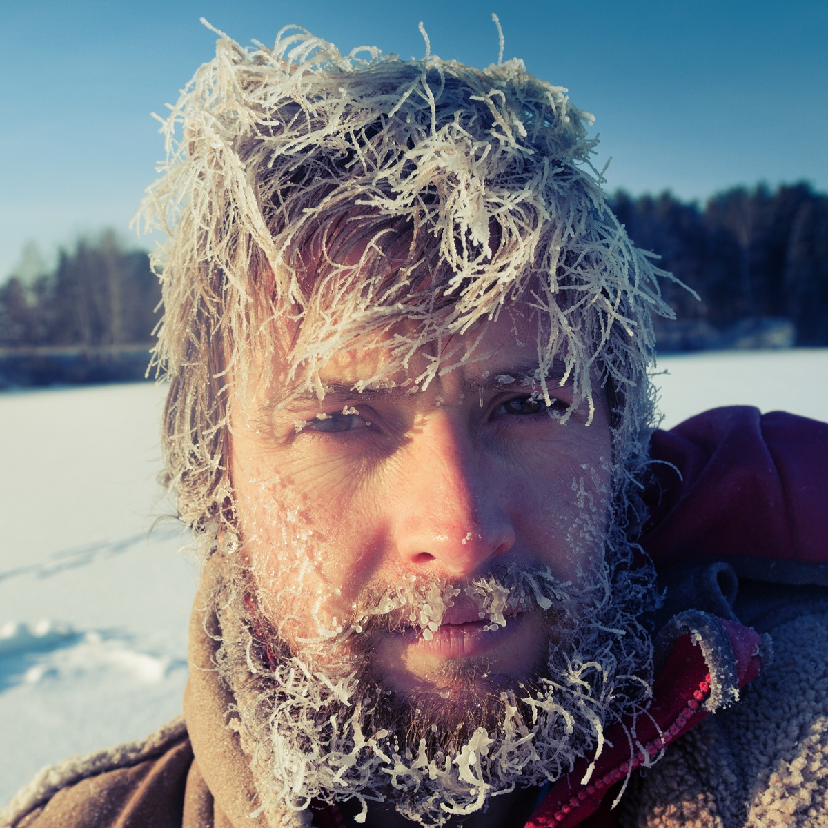 man with frozen hair