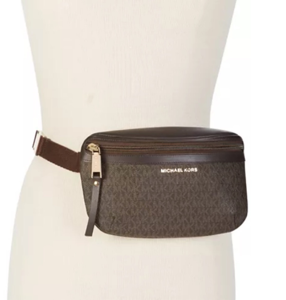 mannequin with brown michael kors fanny pack on its waist
