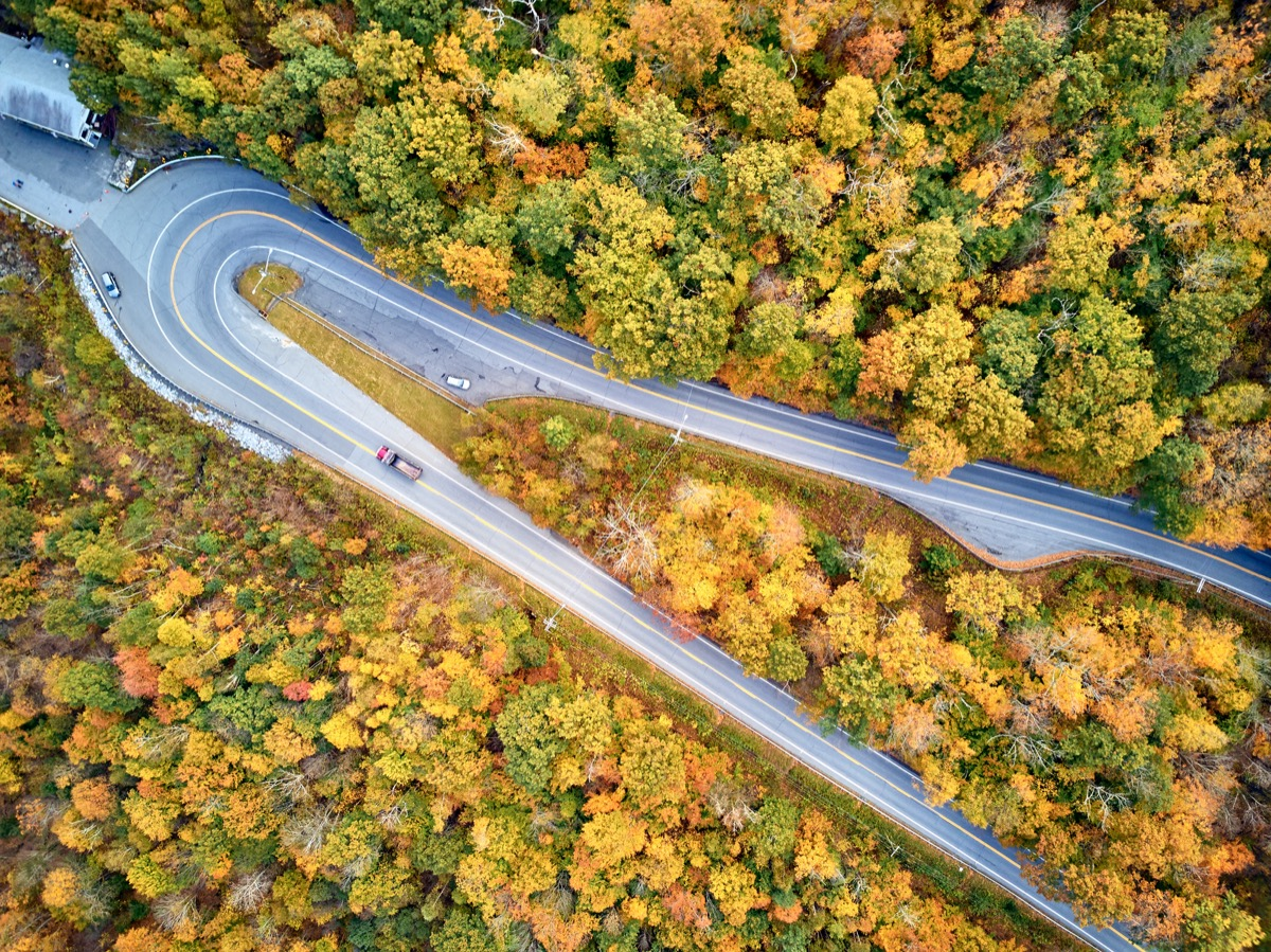aerial view of a road with a hairpin turn in a forest of fall foliage