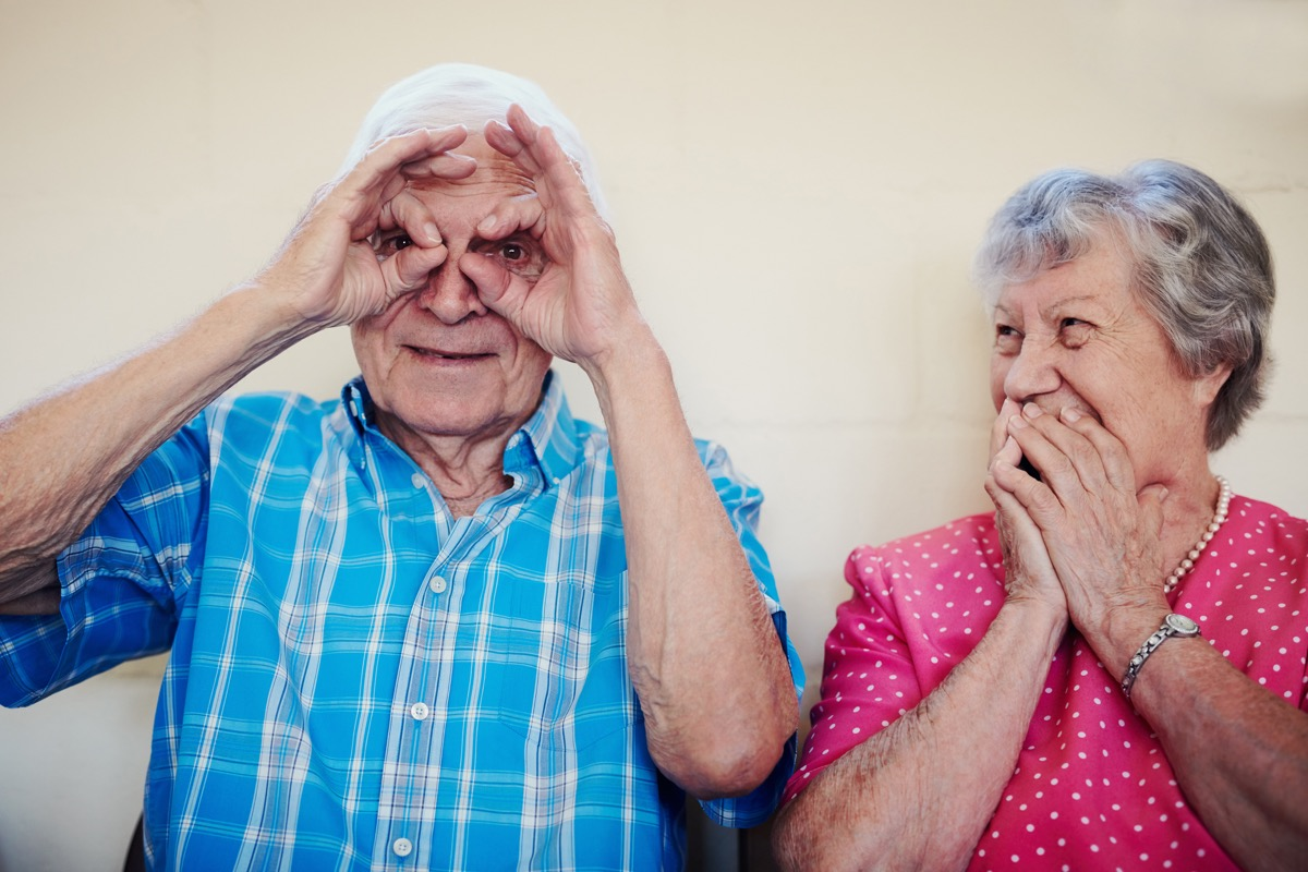 old couple acting silly