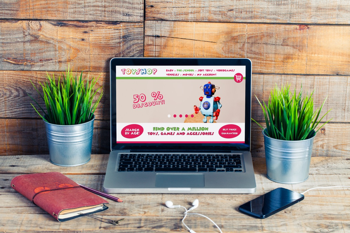 online toy shop on laptop screen