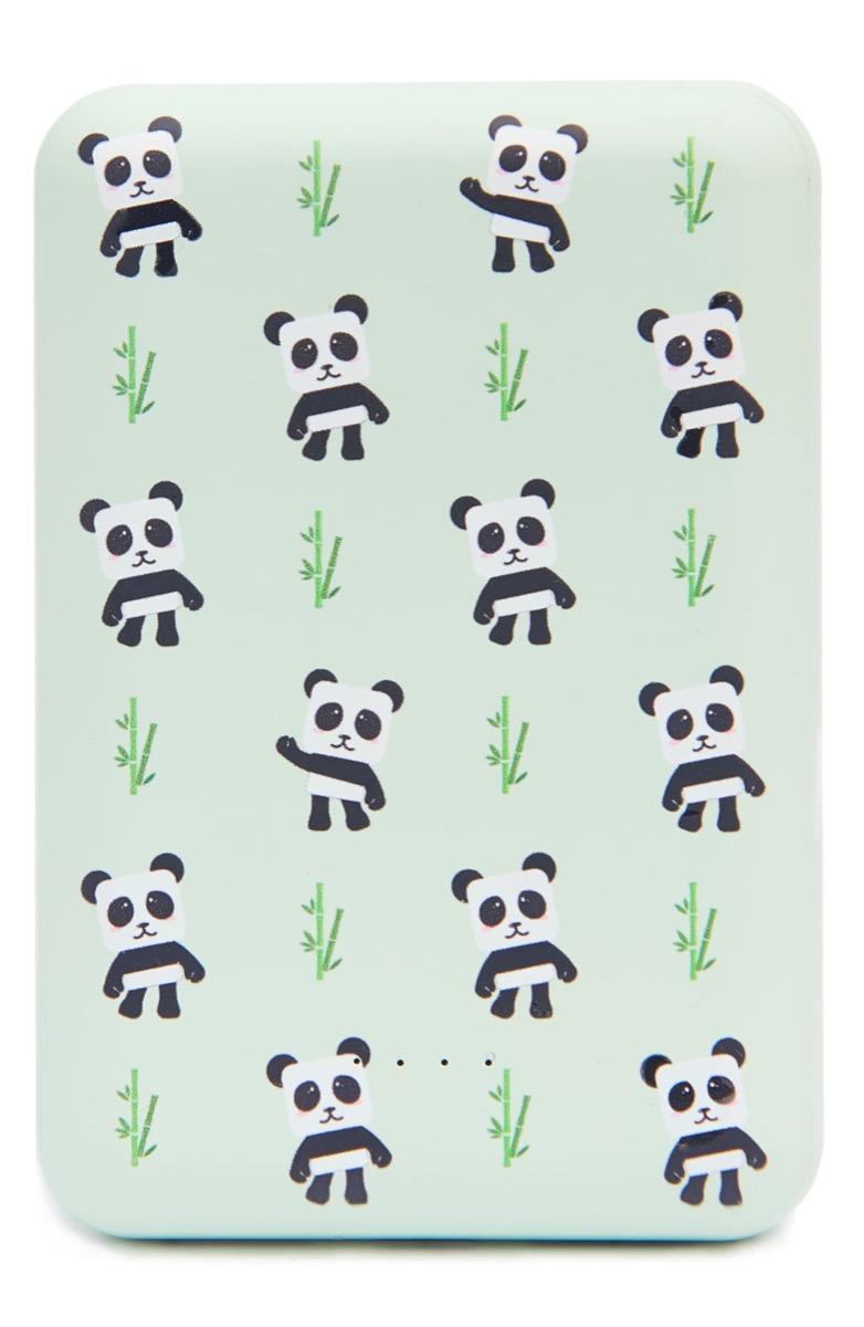 green power bank with panda print