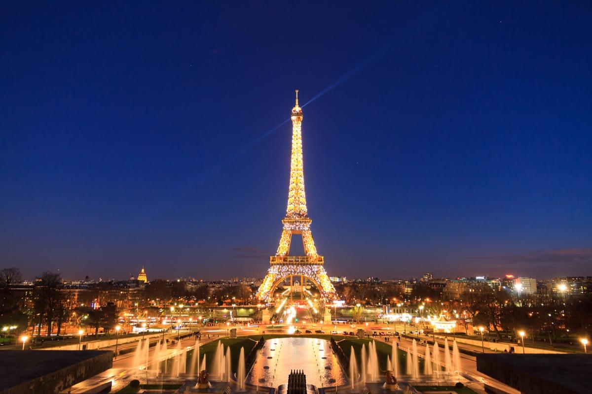 paris eiffel tower in lights