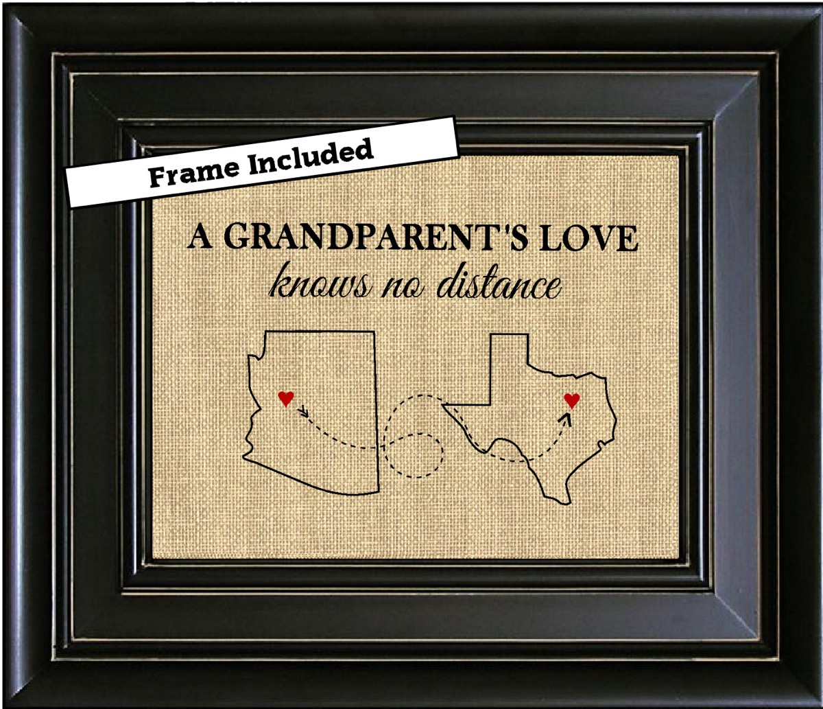 personalized frame with burlap map on it